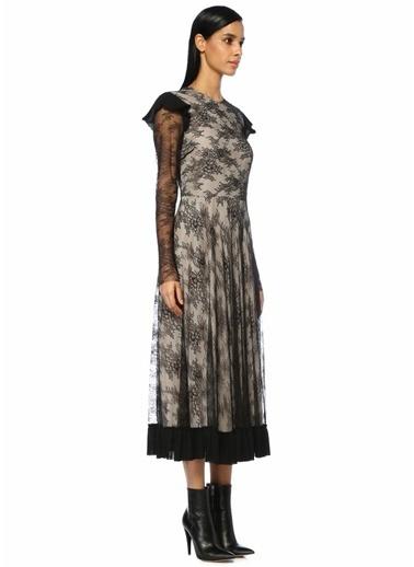 Philosophy Di Lorenzo Serafini Dantel Garnili Fırfırlı Midi Elbise Siyah